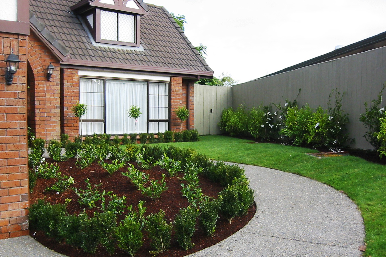 Completed soft landscaping and lawn