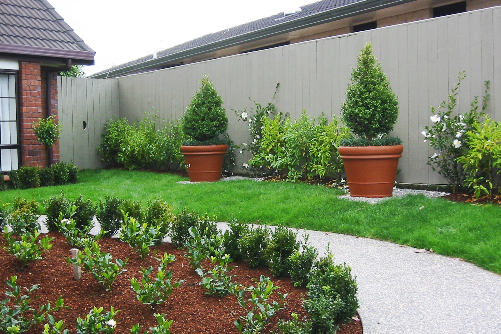 Soft landscaping with feature pots