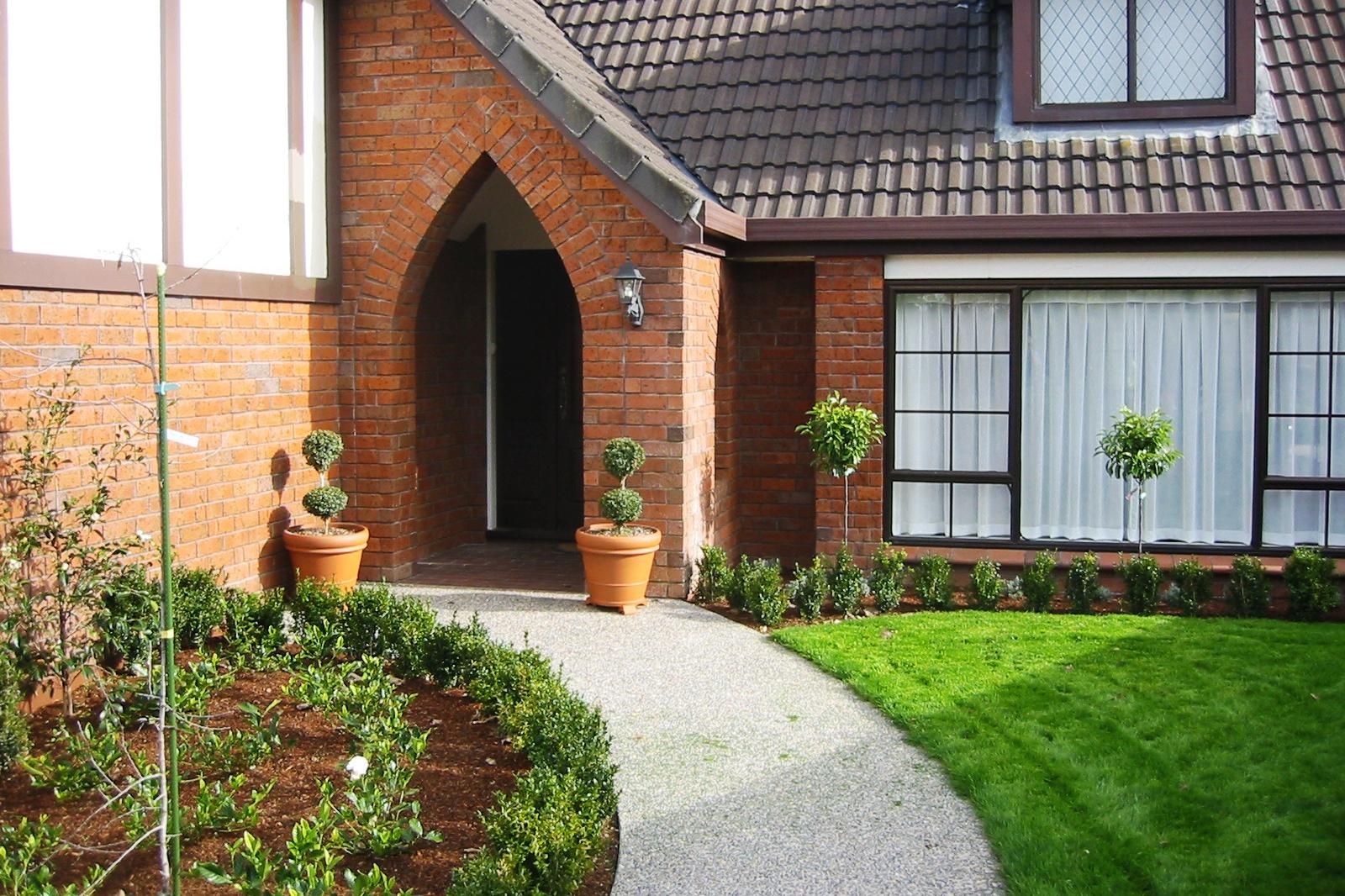 Feature pots at front entrance