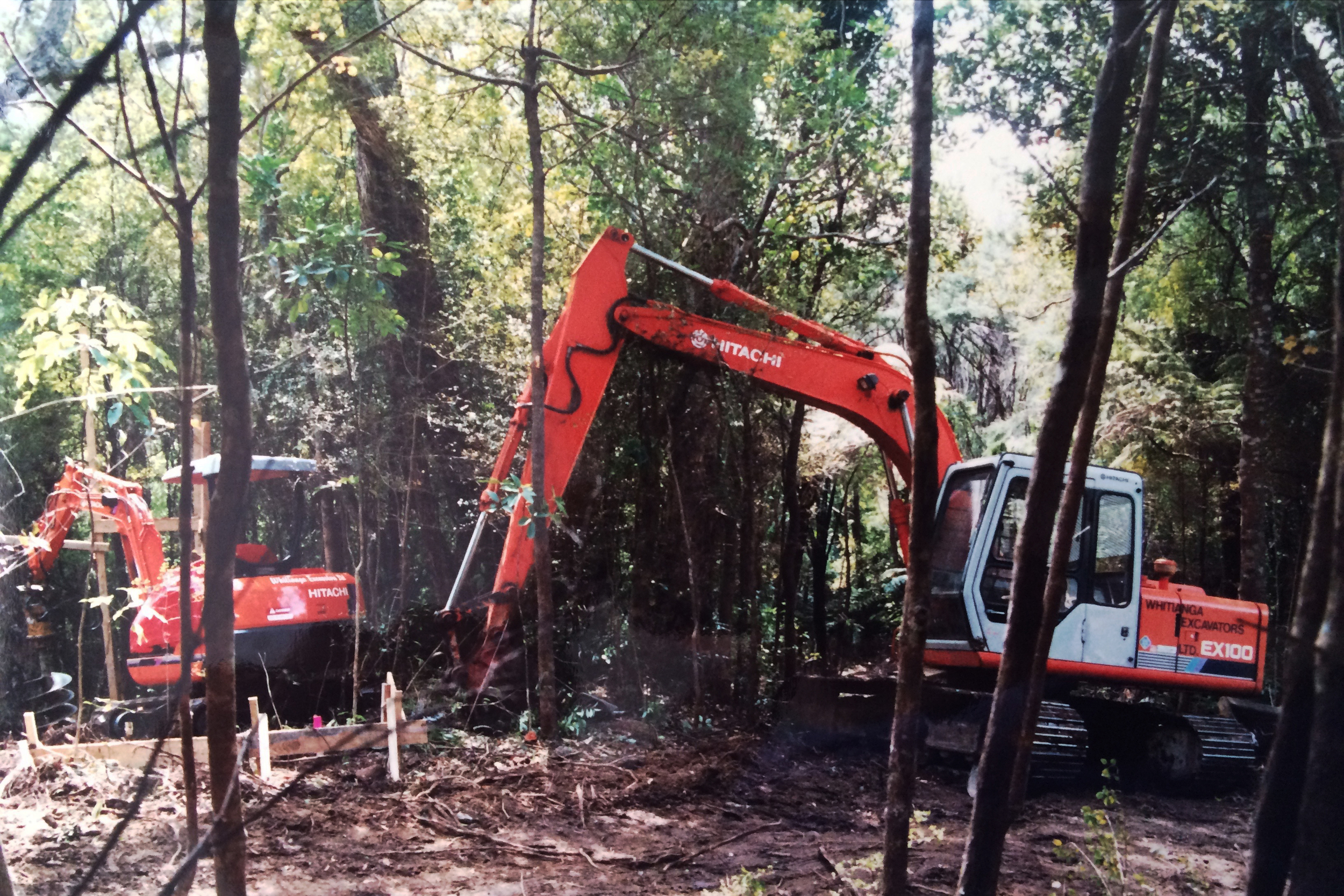 Excavation of plots within the bush for chalets