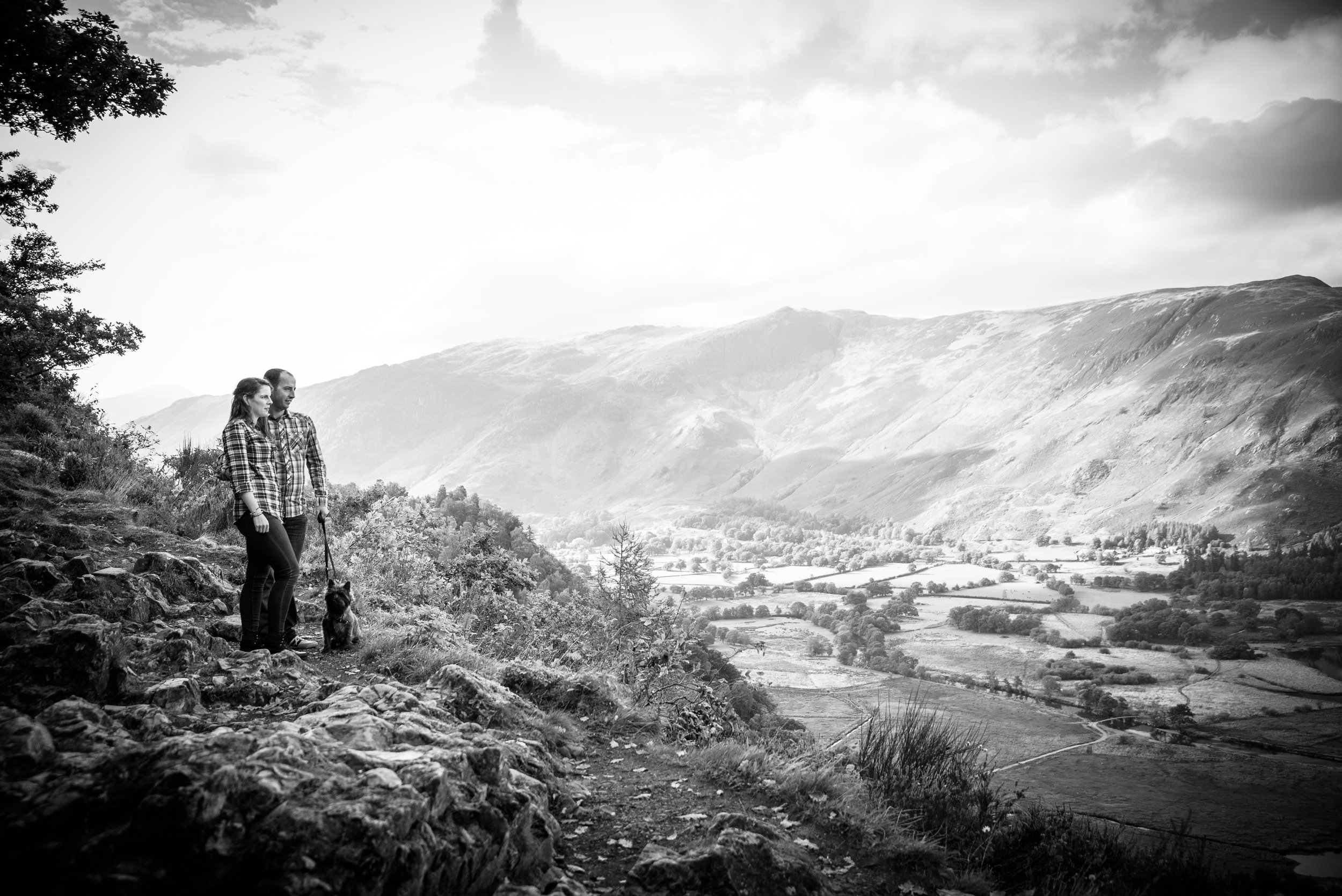Jo Ben and Scooby Black and White Lake district valley
