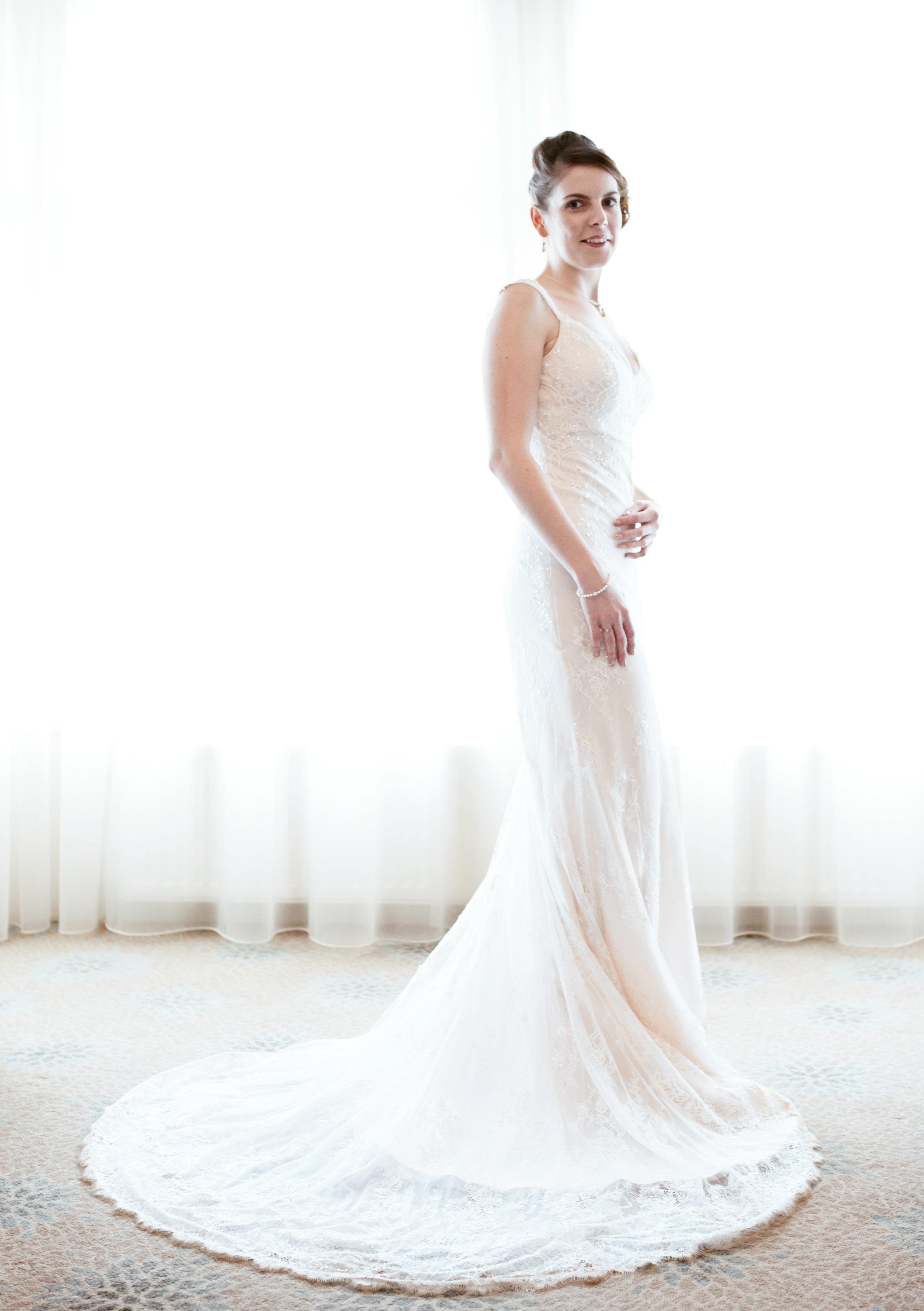 Bridal portrait in window