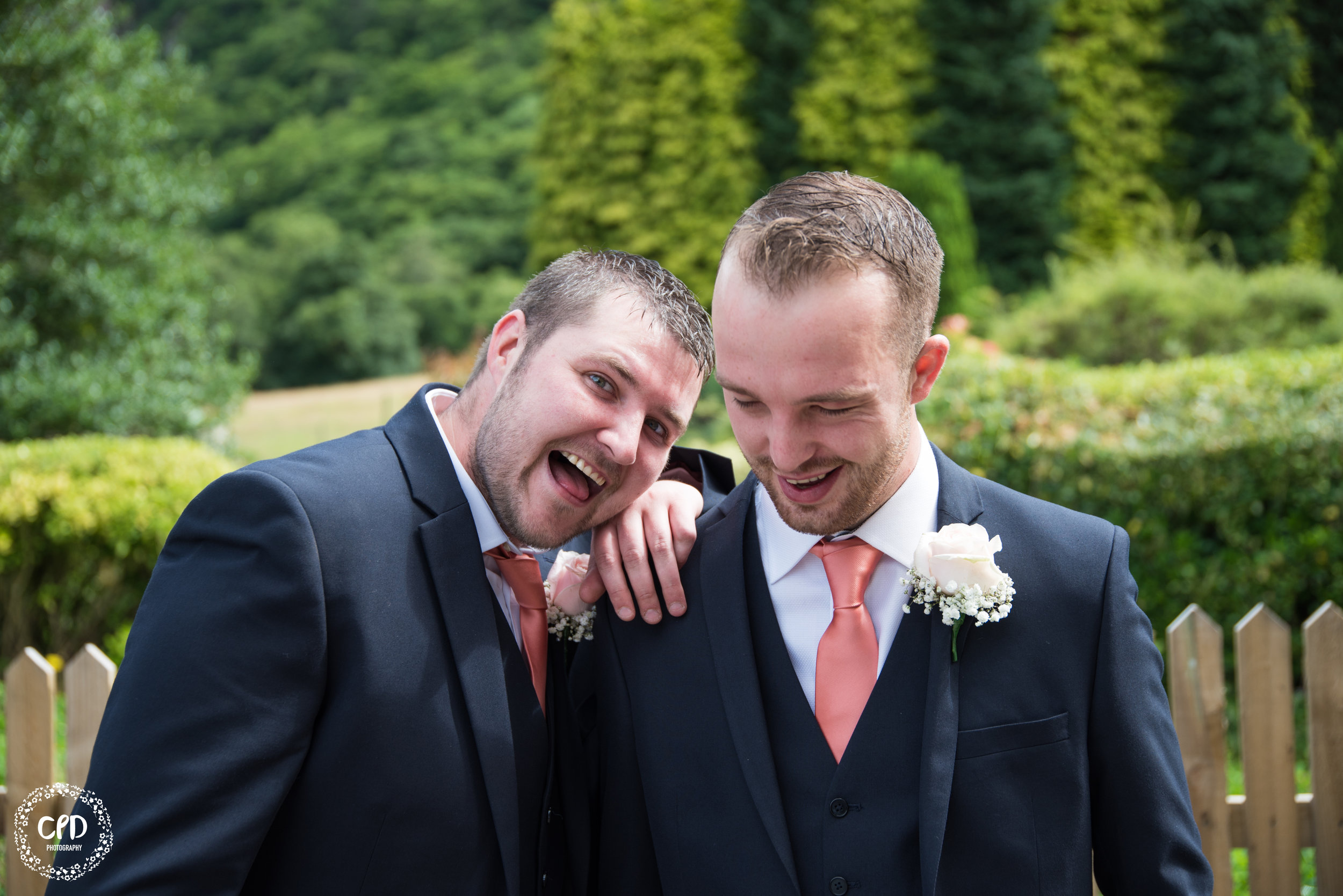 Groom and Best Man goofing around