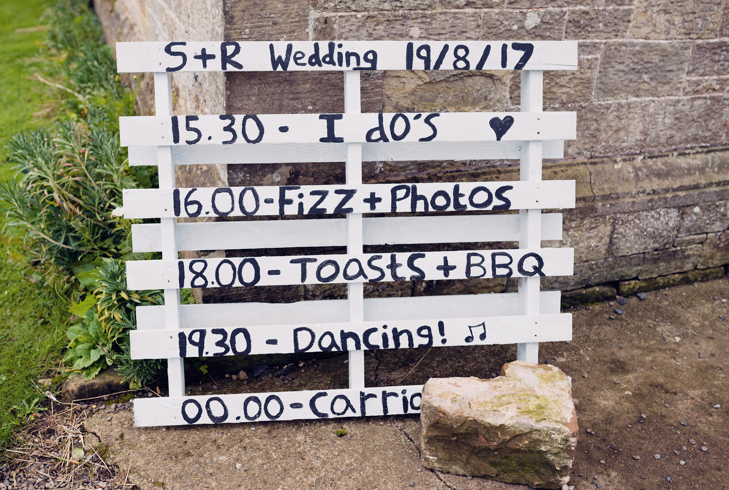 The wedding timetable displayed on a old pallet