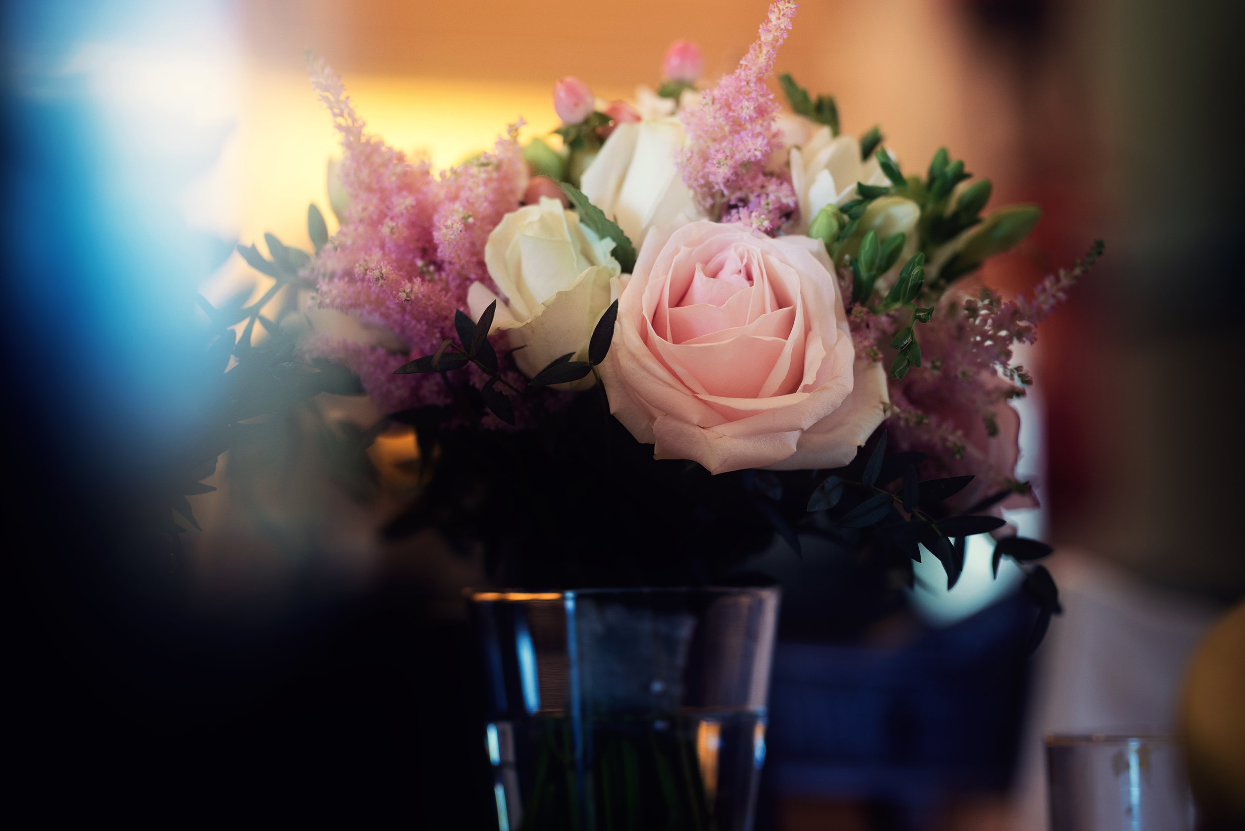Flowers sent to the bride on the morning of the wedding from the groom