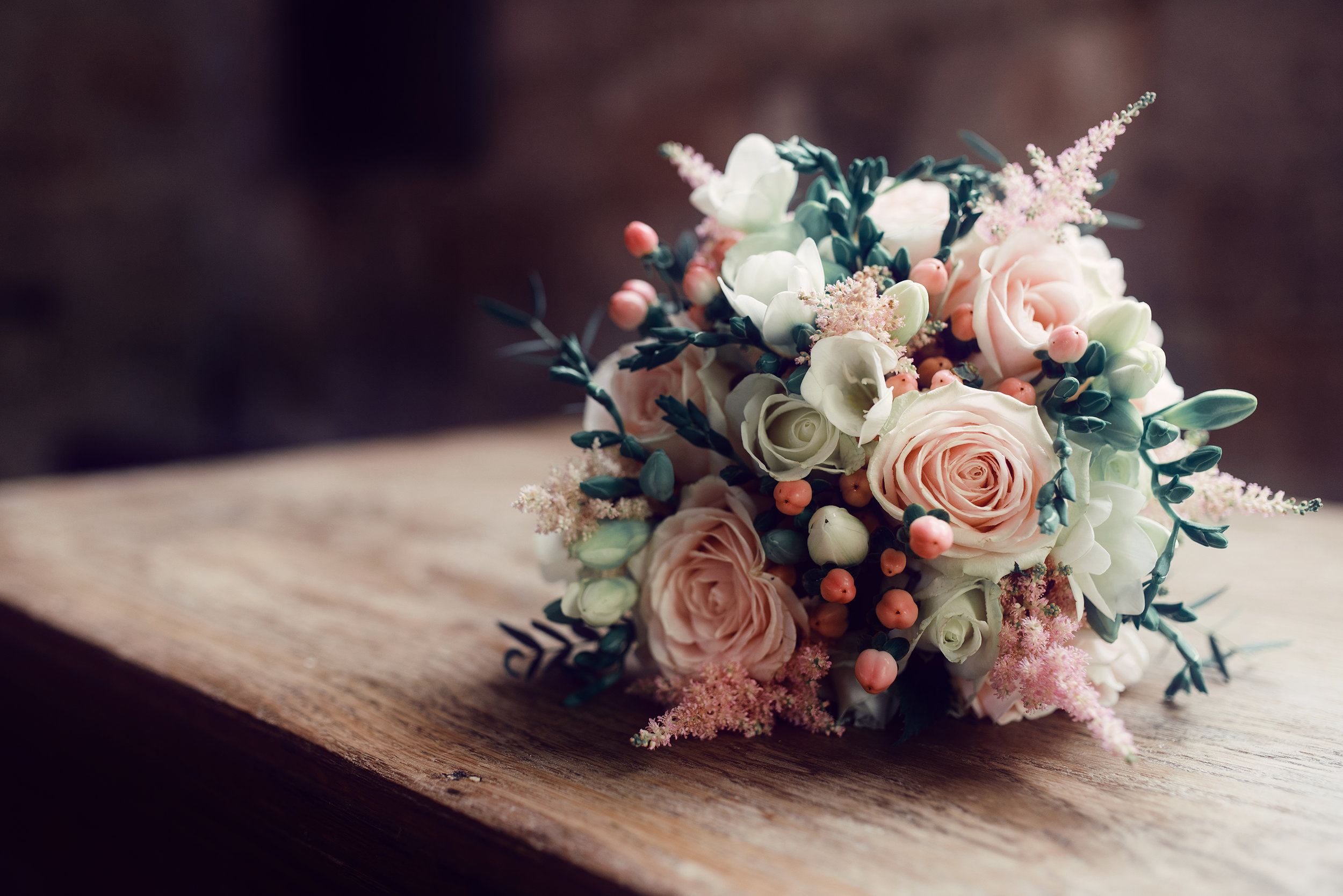 The brides bouquet during the signing of the register