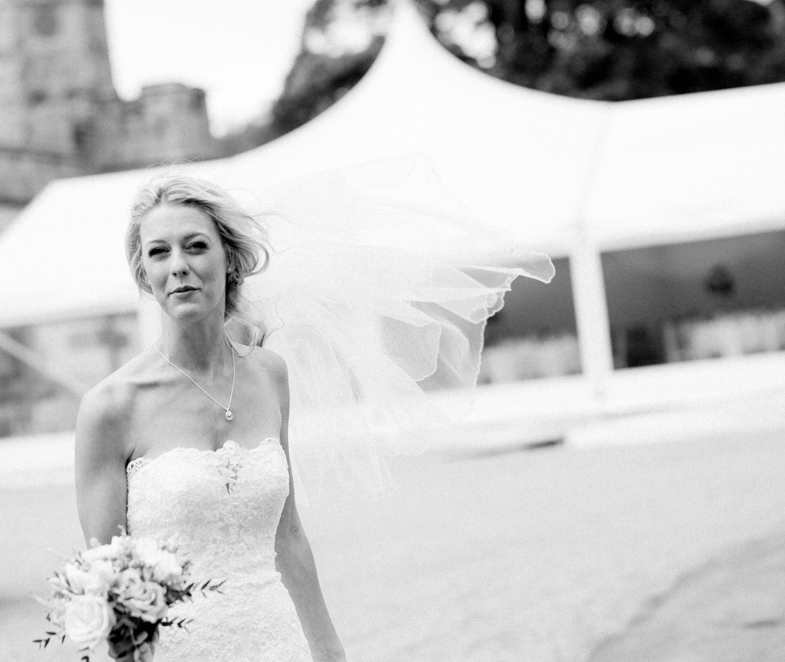 The unsuspecting bride caught in the wind