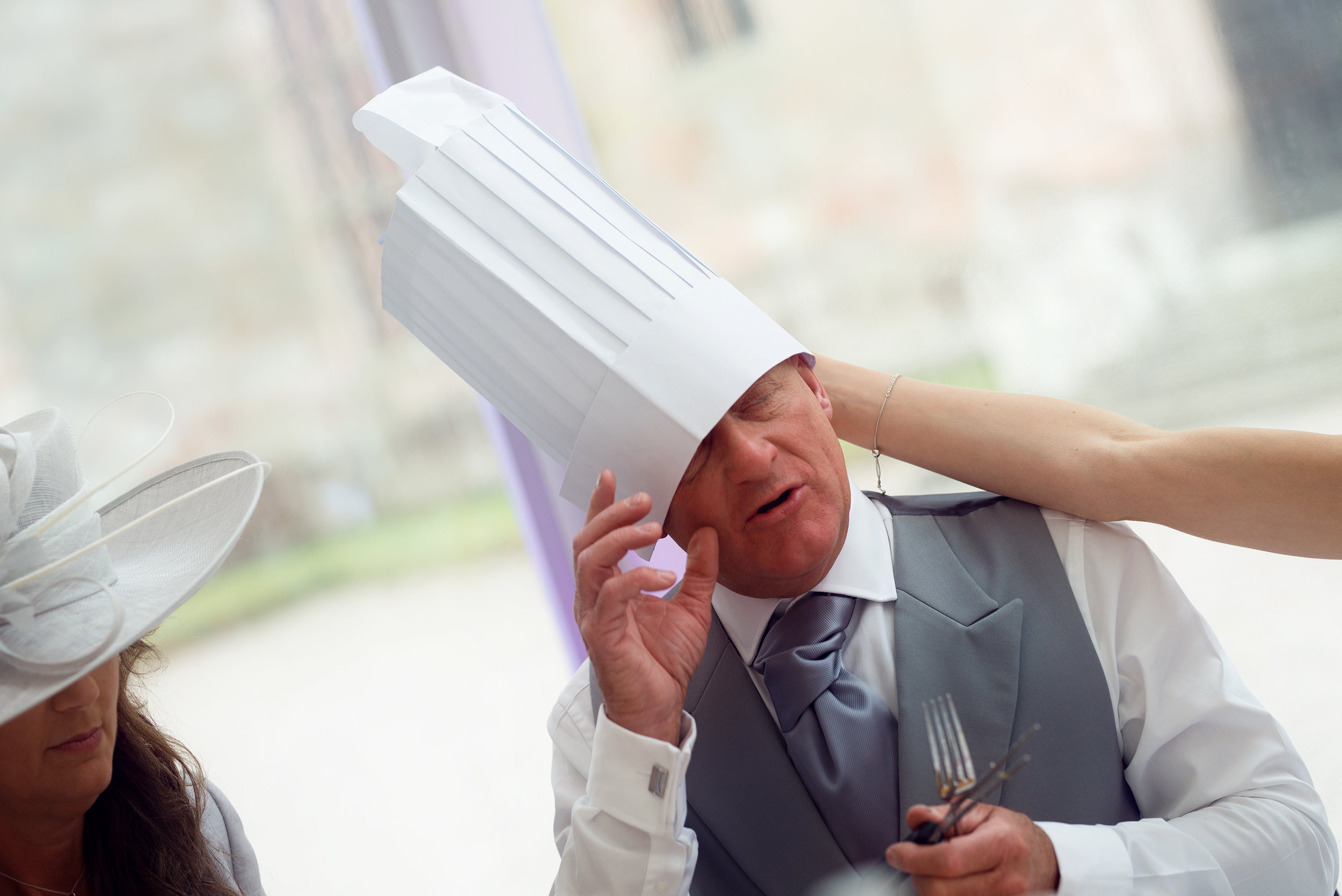 The brides father trying to keep his chefs hat on