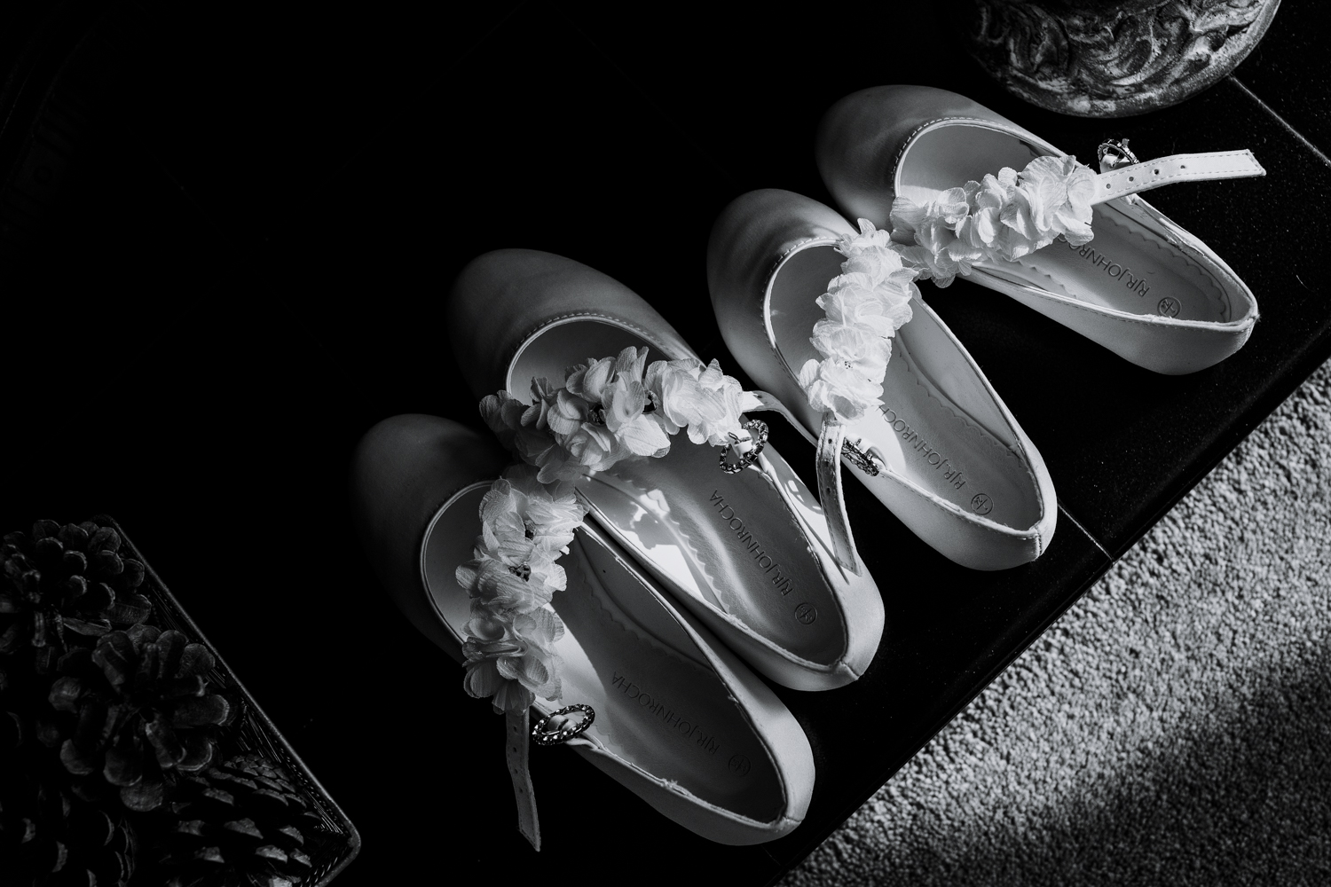 The young bridesmaids shoes lined up