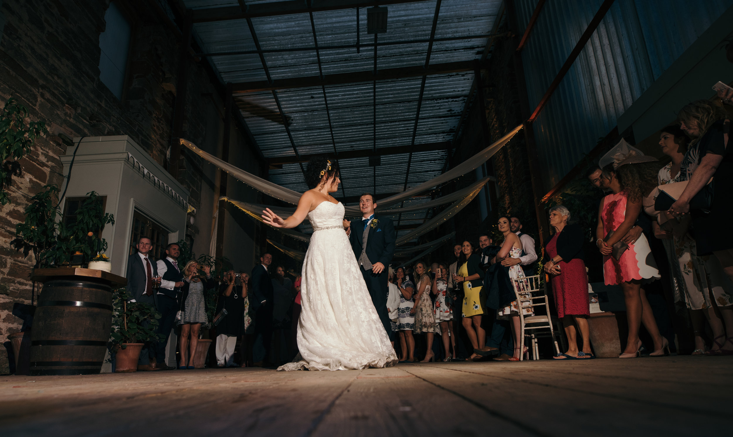 Bride and groom during the first dance at Kirklinton Hall Cumbria