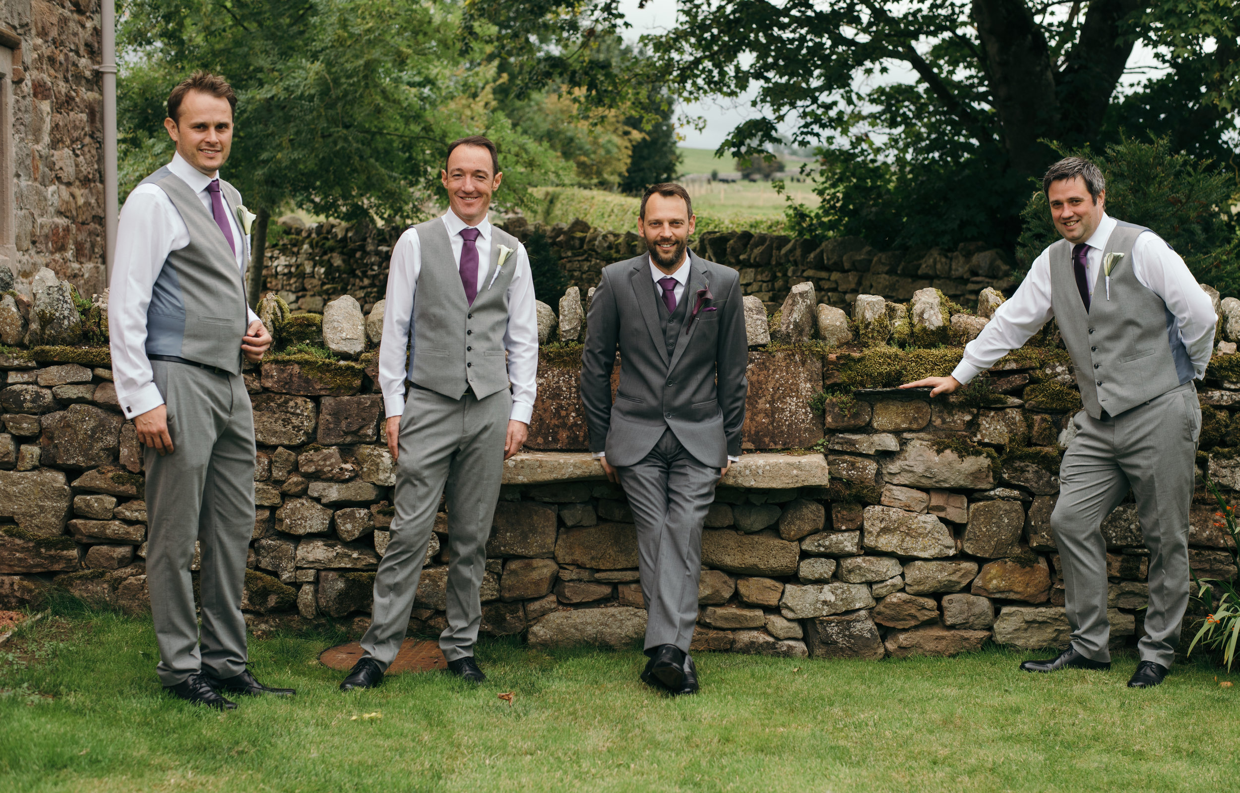 The groom and best men having a laugh before the ceremony