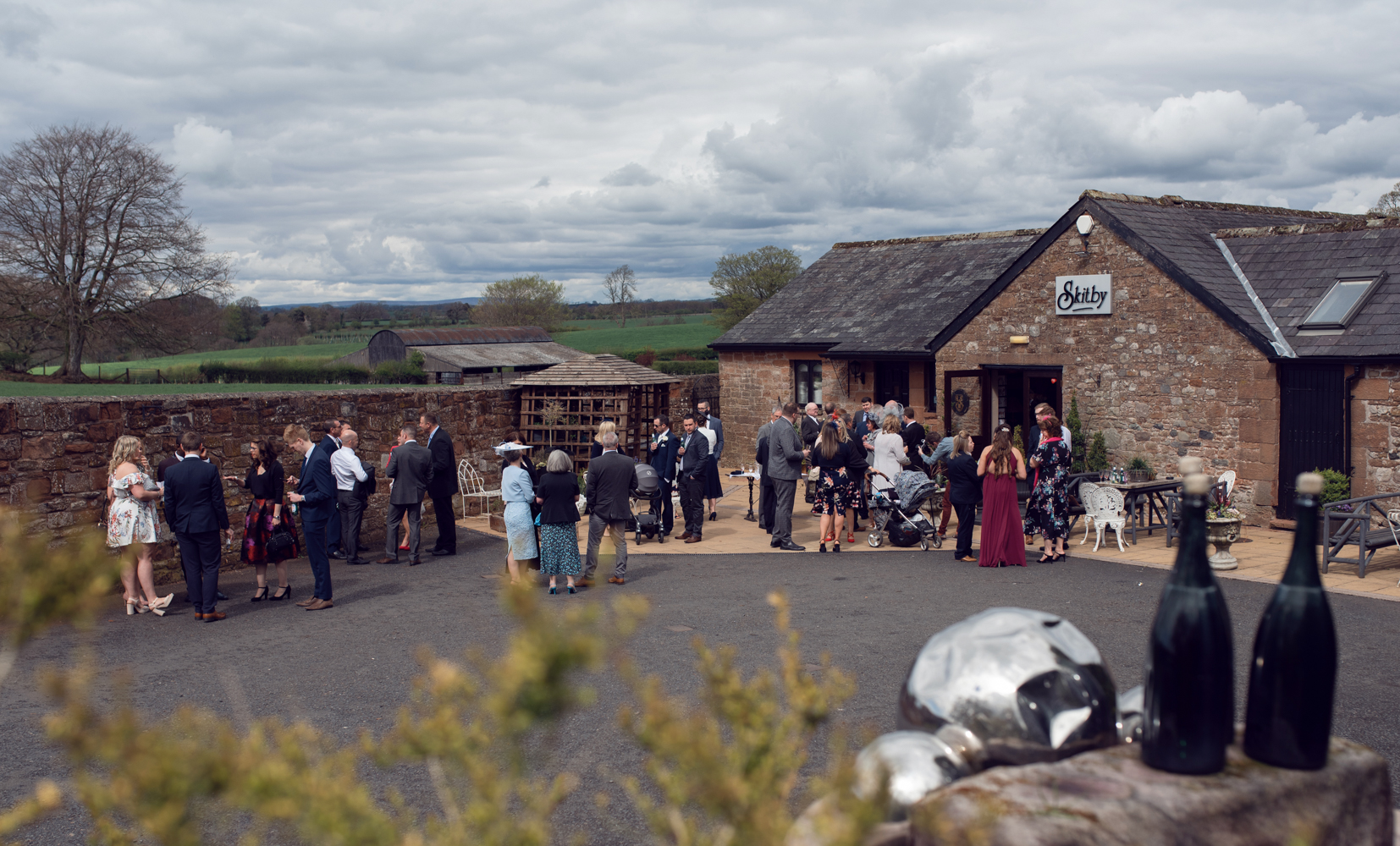 An outdoor view of the wedding venue at Skitby