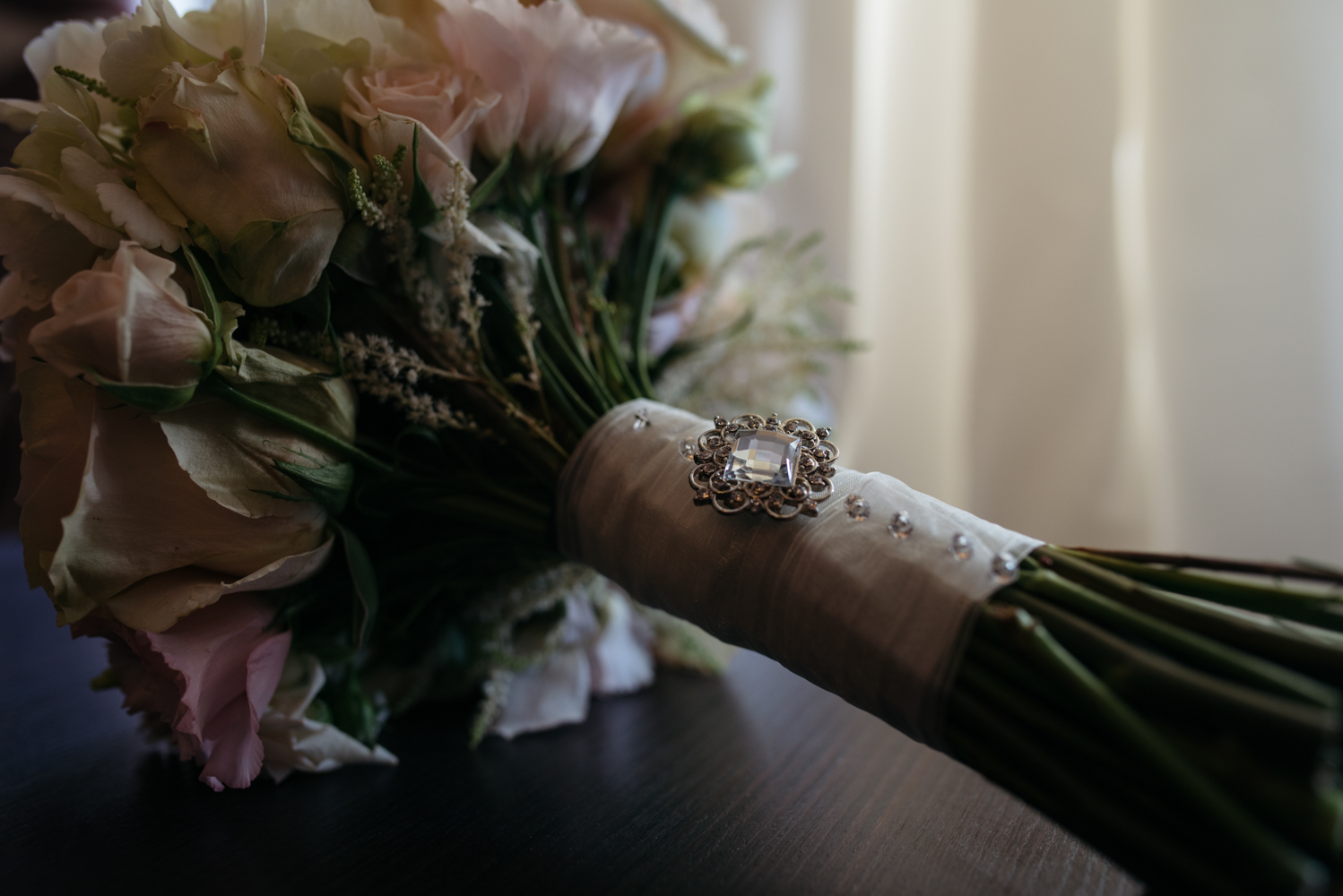 The brides bouquet with a jewel decoration