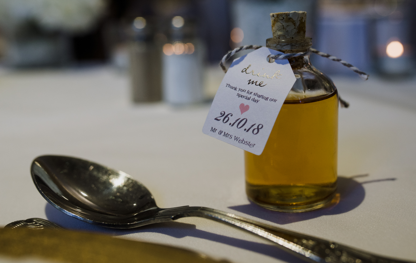 One of the guest wedding favours on the wedding breakfast table