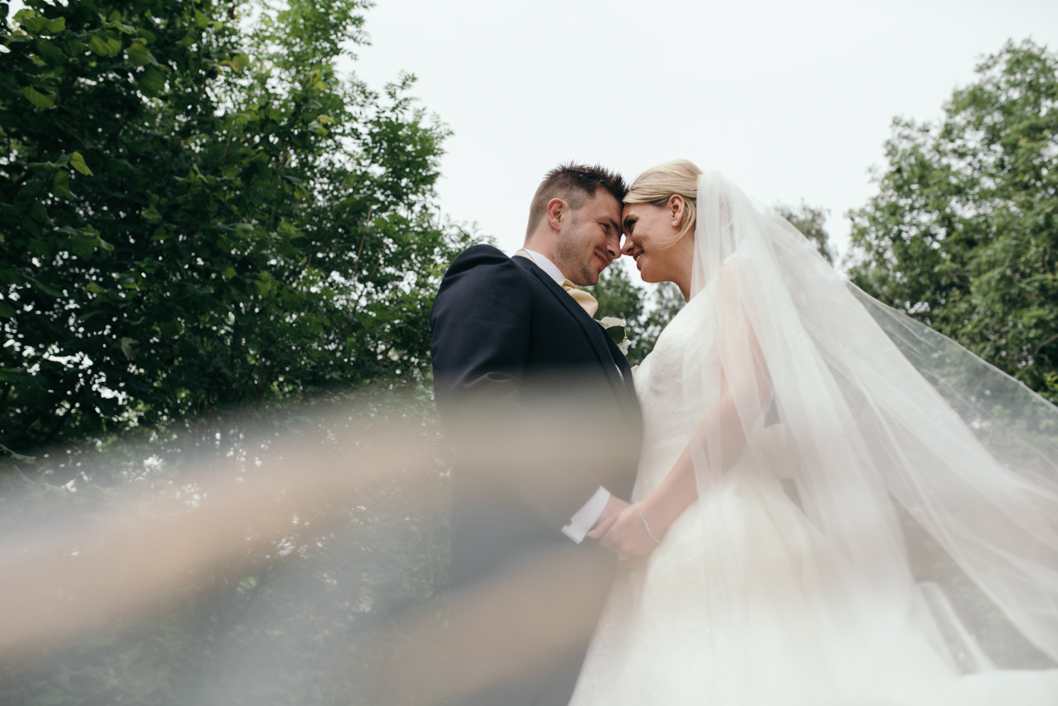 A photo of the bride and groom taken through the brides veil