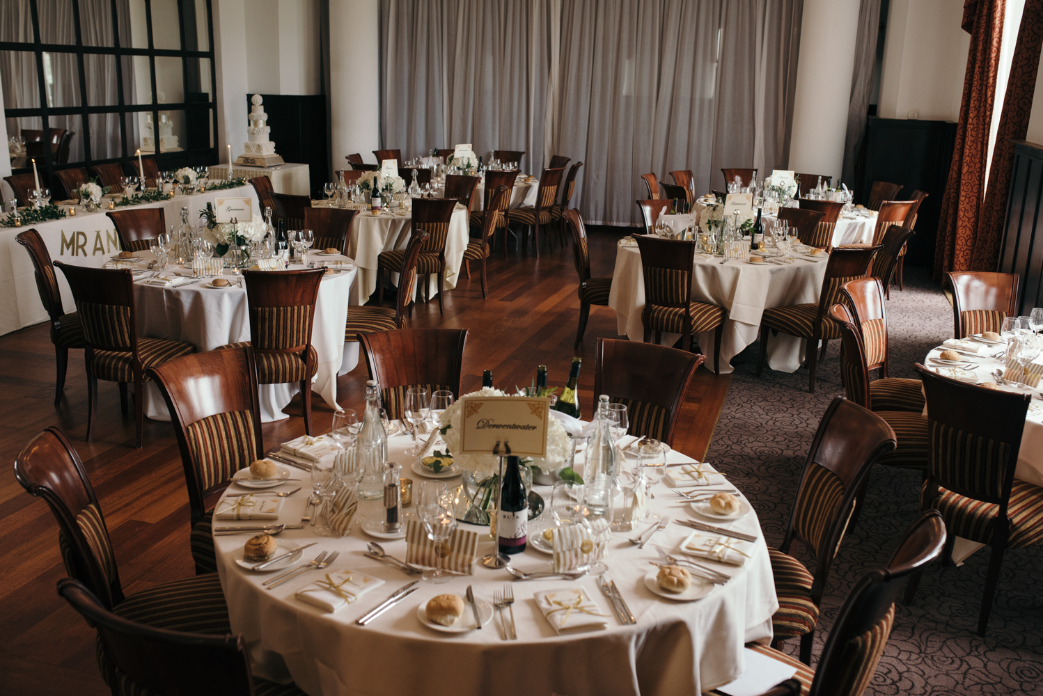 The wedding breakfast room all set up ready to receive wedding guests
