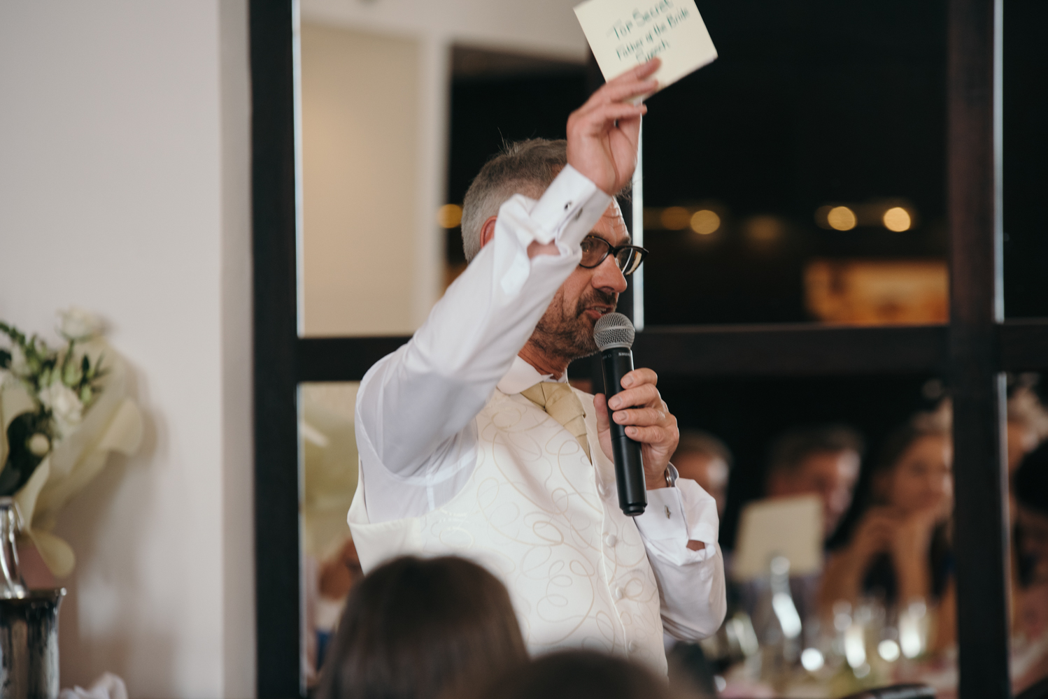 The brides father during his speech