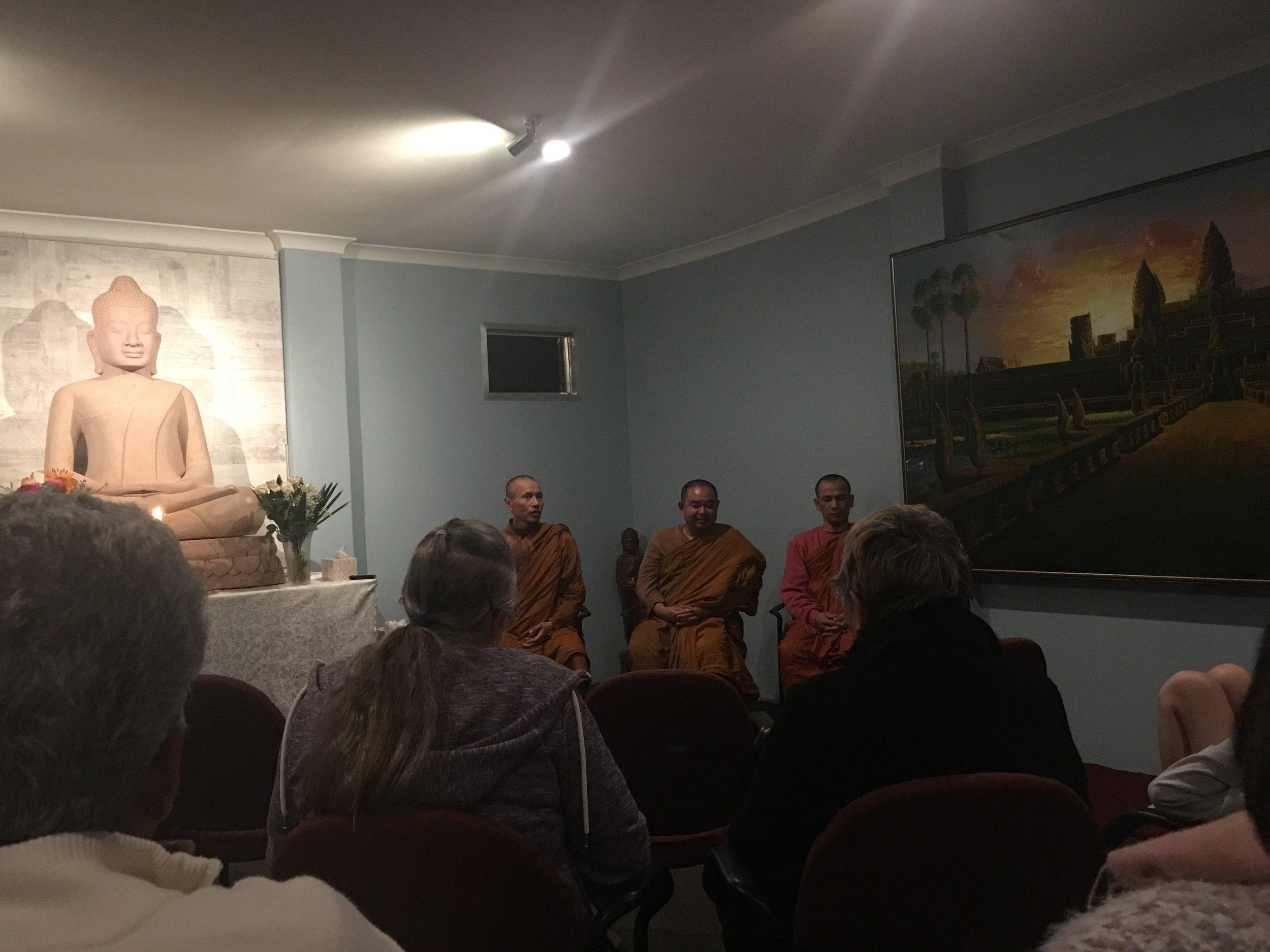 Ajahn Khemavaro giving a Dhamma talk and guided meditation.
