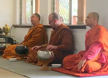The three Venerable Phikhus at Dana on Monday 17 June 2019