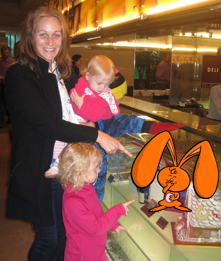 Liz Donnelly with eardrop rabbit and her children