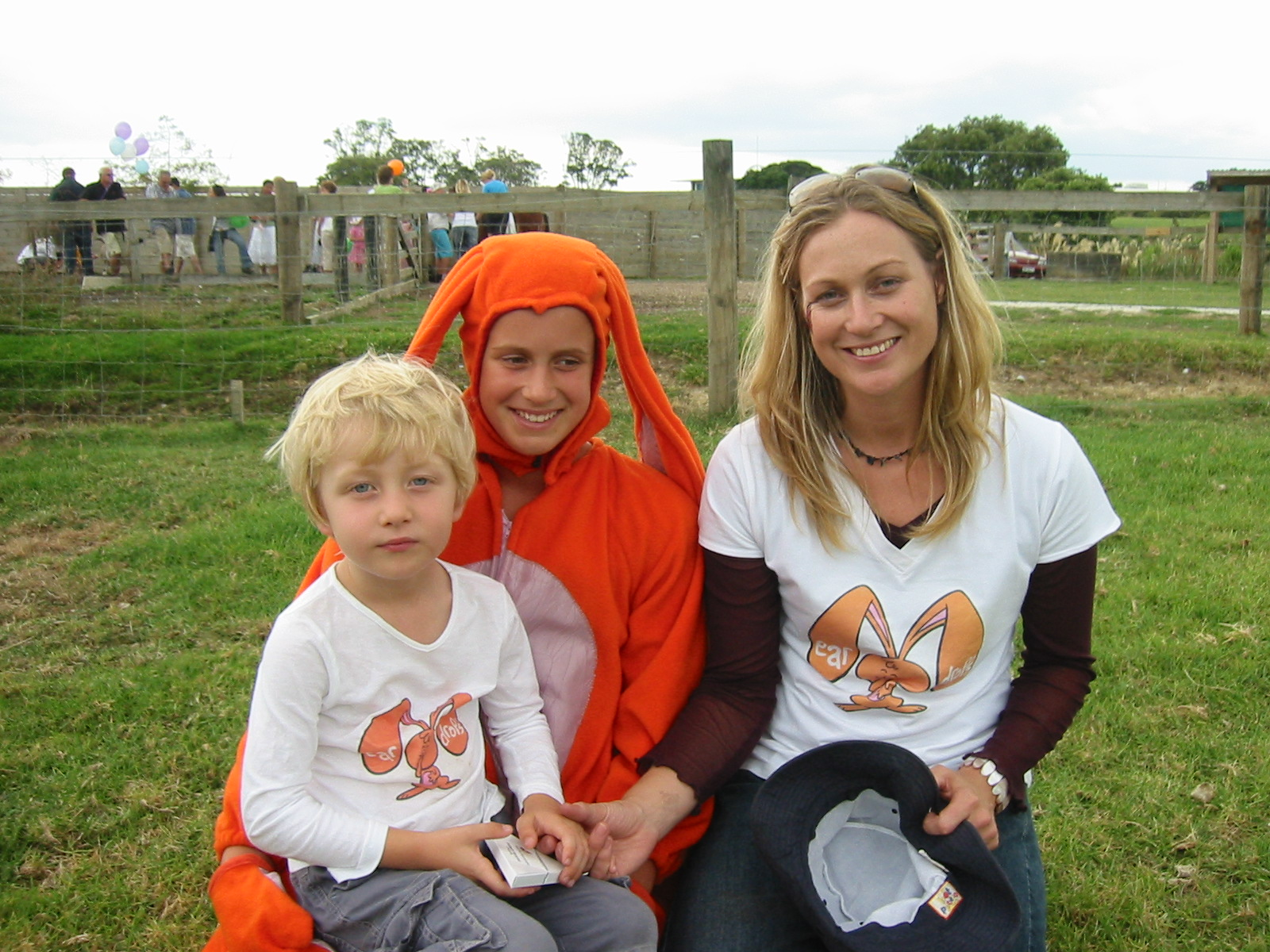 Liz Donnelly and young son with Eardrop rabbit character
