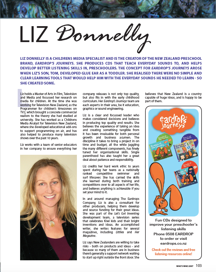 Liz Donnelly profile in Who's Who magazine