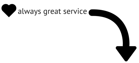 arrow pointing to quote about eardrops always having great service