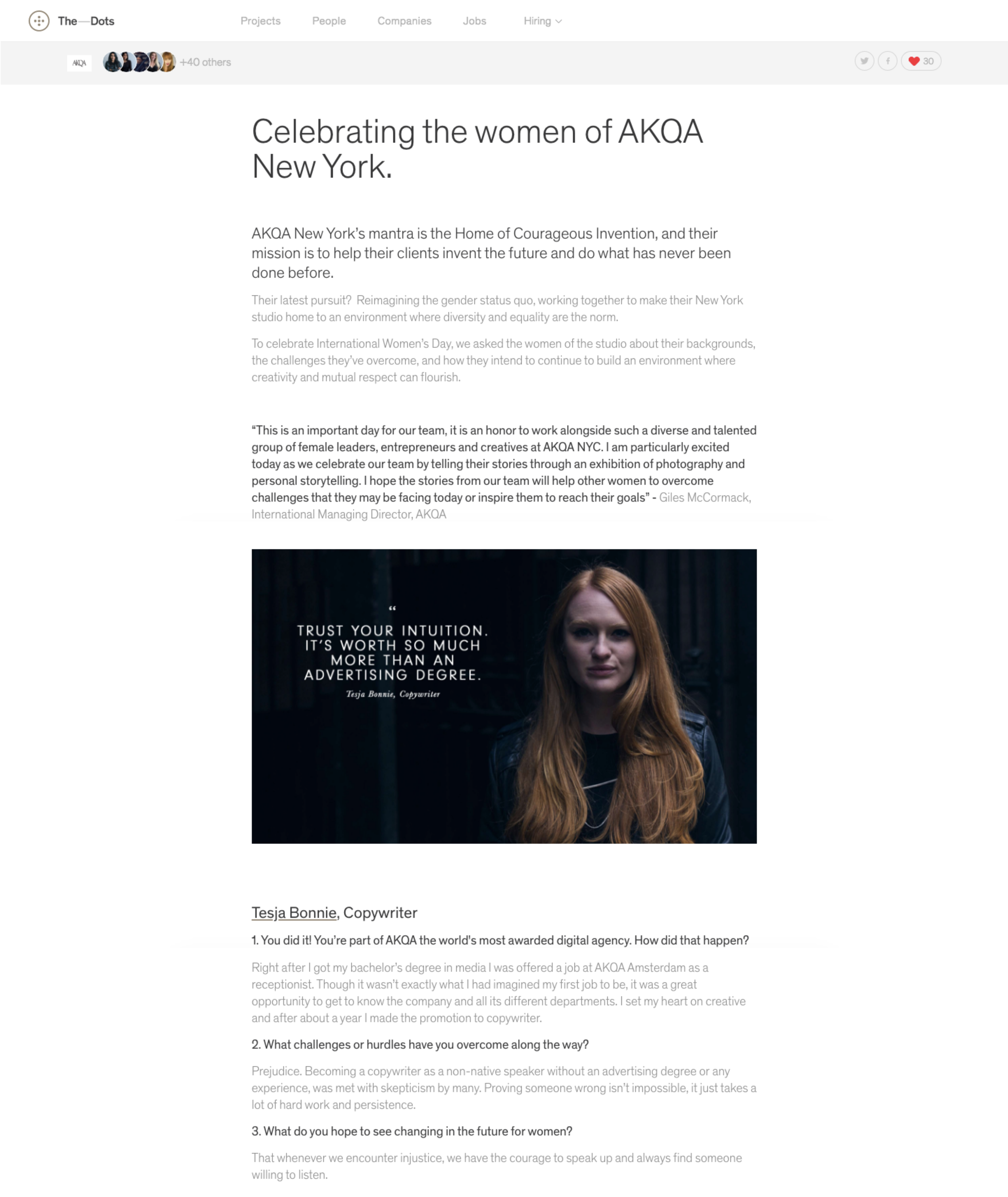 International Women's' Day 2018 feature on The Dots