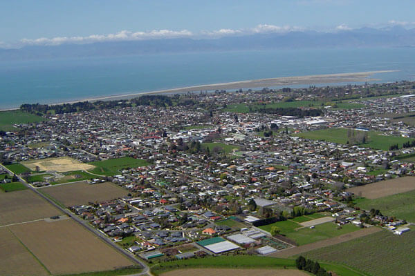 Aerial shot of Motueka