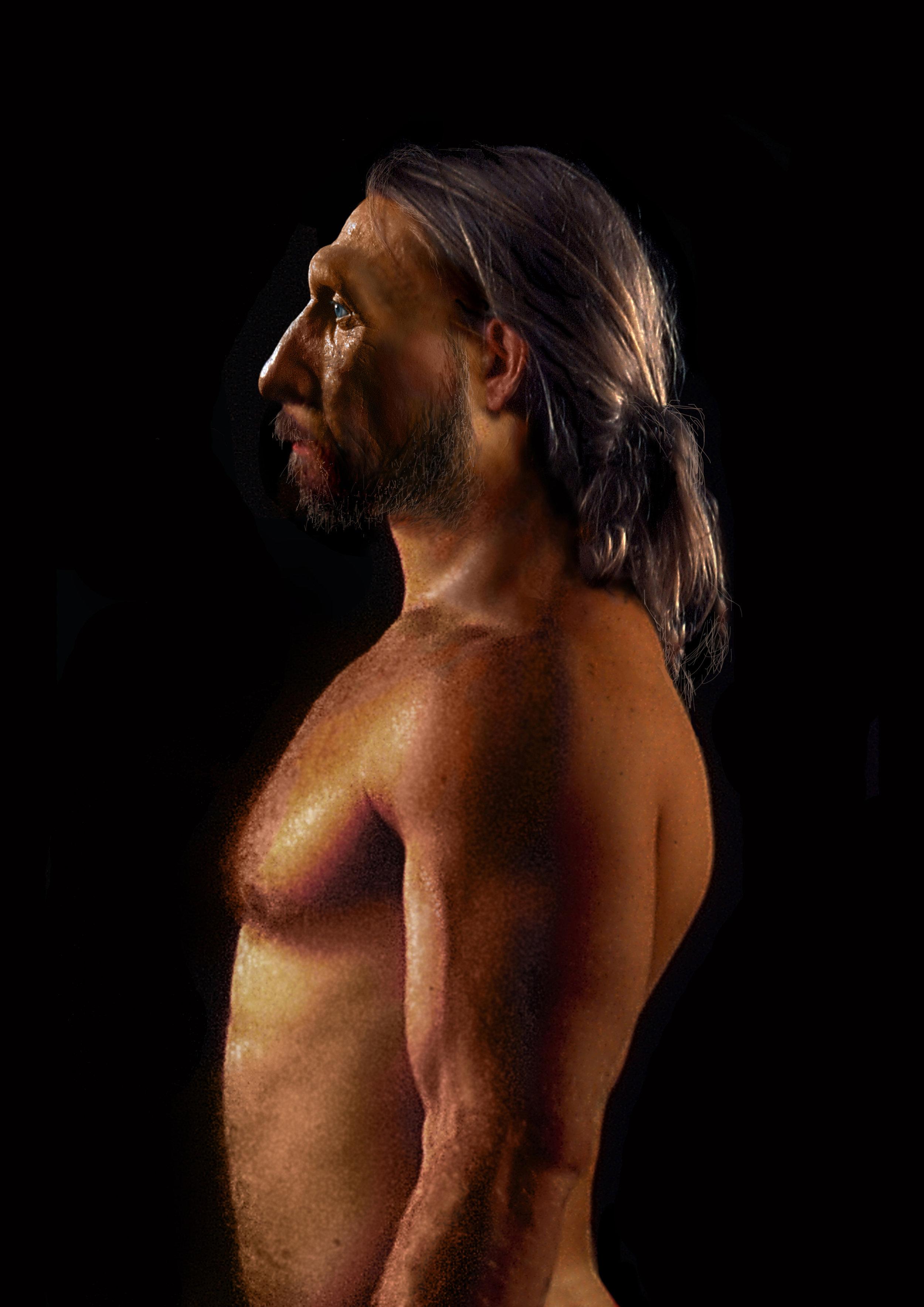 Neandertal male in profile, based on La Ferressie 1.