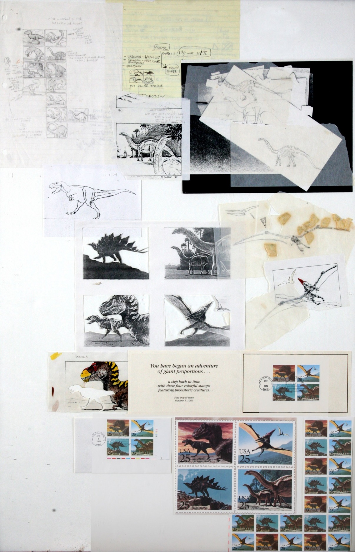 In 1989 the U.S. Postal Service asked me to create art for four dinosaur postage stamps (technically three dinosaurs and a pterosaur) I was already neck-deep in my first  National Geographic  assignment, and I almost declined. In the end, I agreed to create the art, but only if I could work very small, at a scale of 1.5 times the size of a stamp, instead of the usual scale of five times stamp size. They agreed, and the stamps came out later that year. The original paintings of  Stegosaurus ,  Tyrannosaurus, Apatosaurus  and  Pteranodon  are buried in the bowels of the United States Post Office (remember that room at the end of  Raiders of the Lost Ark ?), but I saved my scribbles leading up to the painting, and present them here for sale.  $55,000