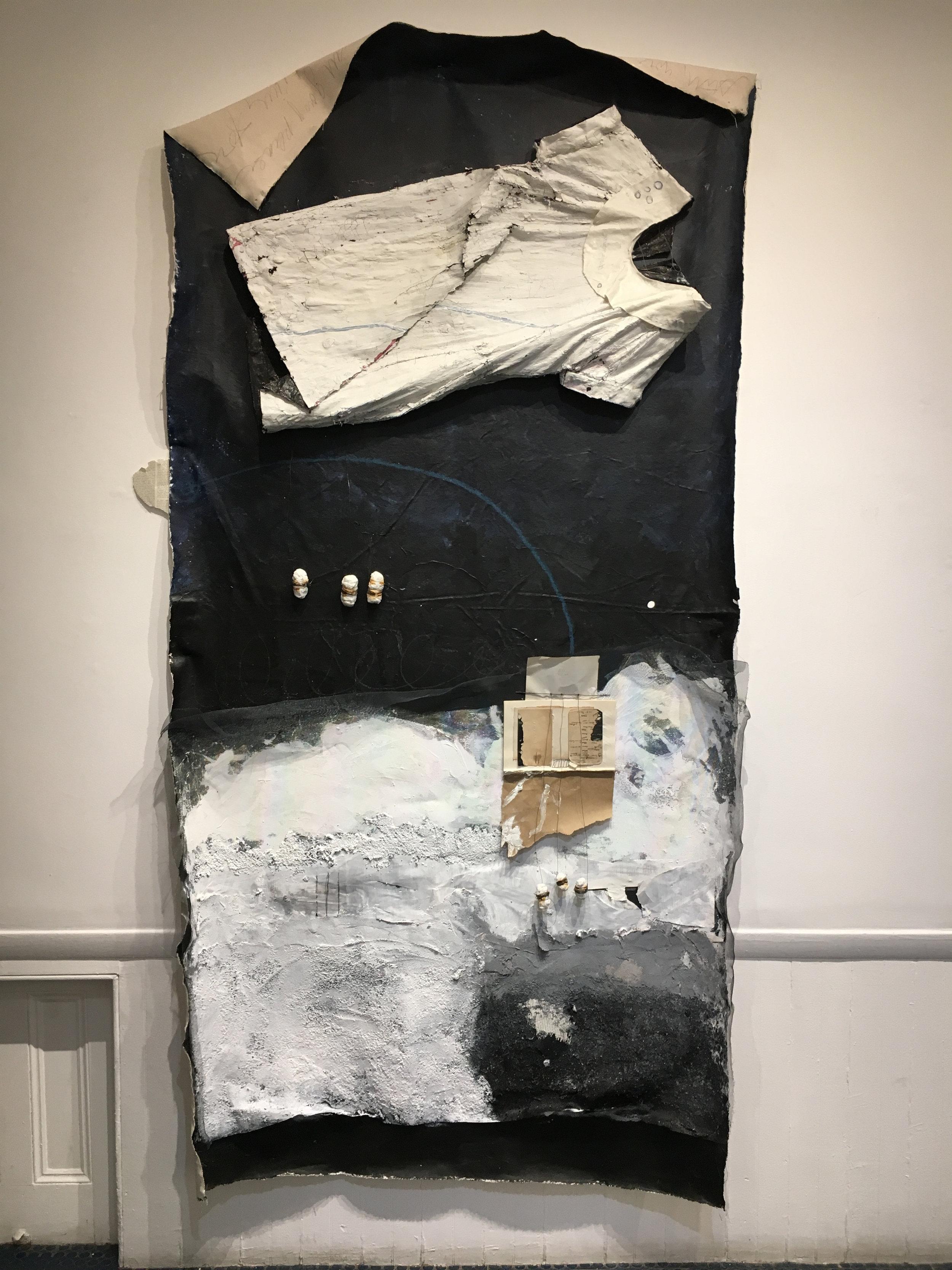 Pupal . 2017. Canvas, paint, paper, dress, plaster, wire. 5' x 6'.