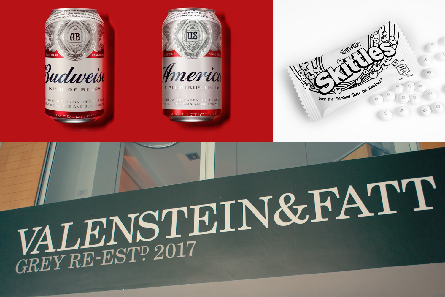 Picture credits: Budweiser by JKR, Skittles ,   Valenstein and Fatt