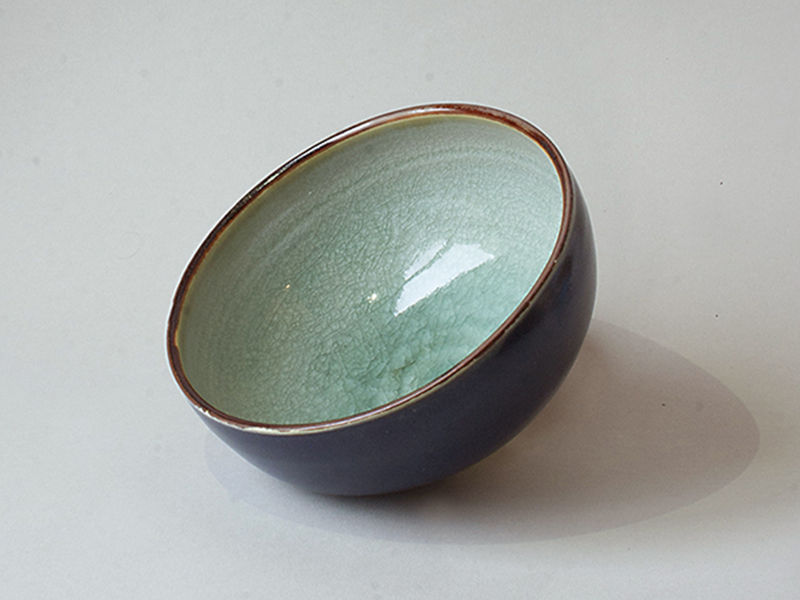 bol en grès, celadon et bleu