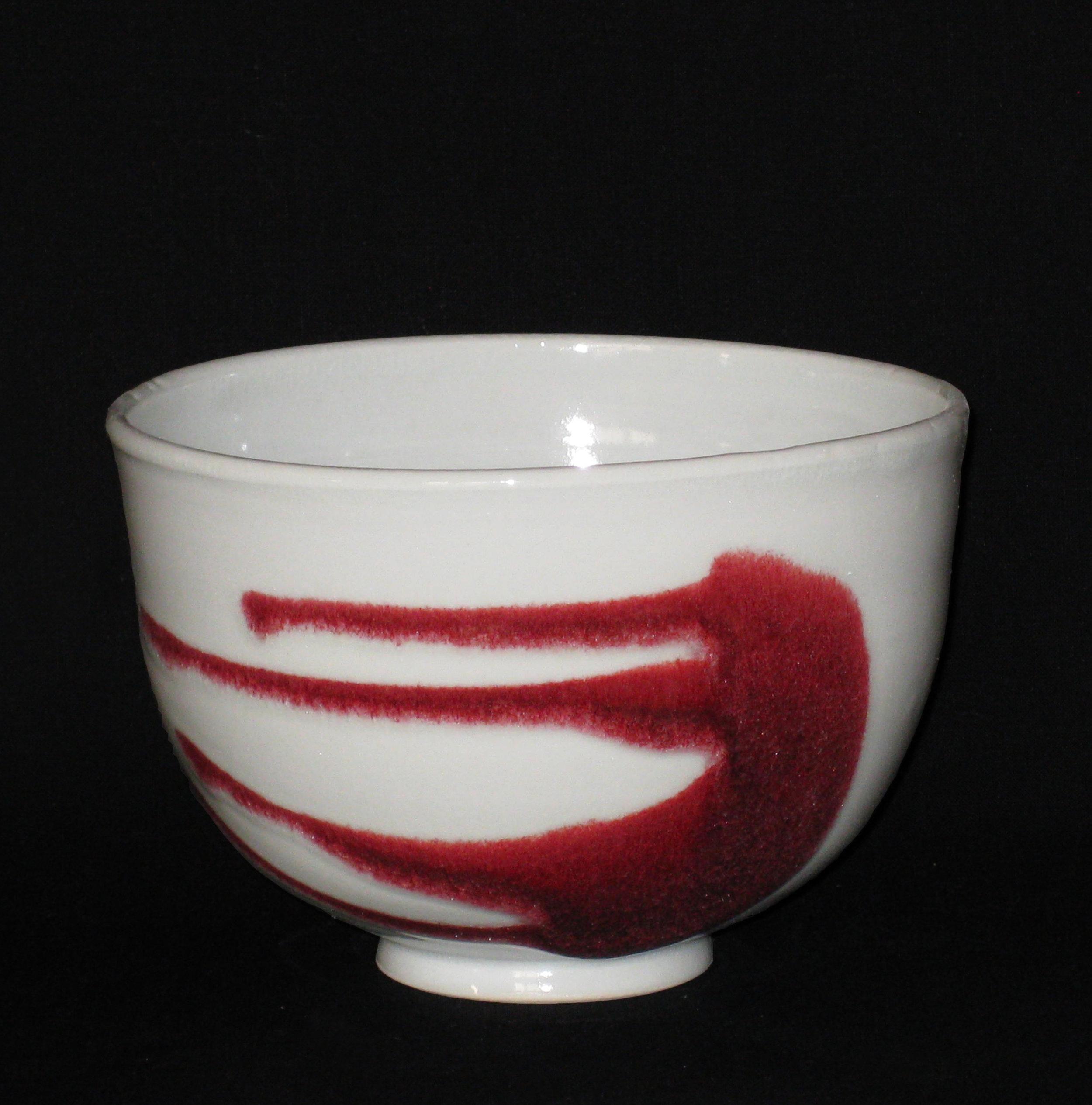 bol à thé en porcelaine, blanc et rouge