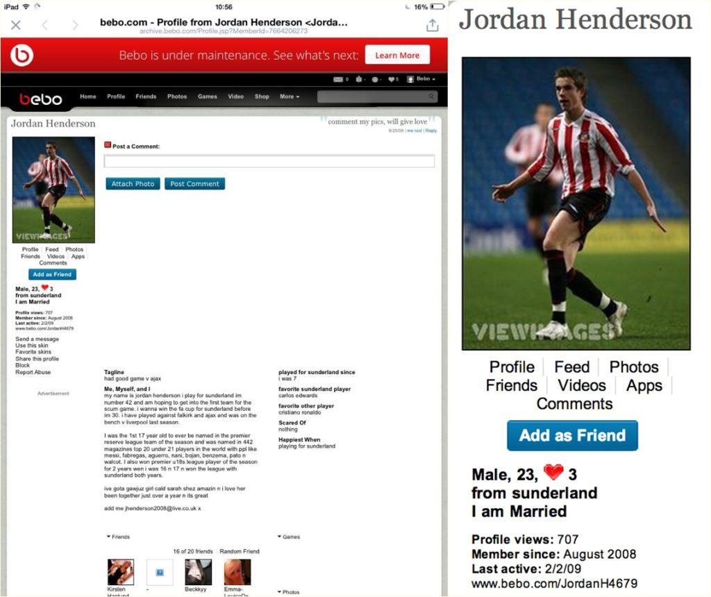 England and Liverpool footballer Jordan Henderson has recently had his old Bebo account come into the spotlight... oh dear Jordan!