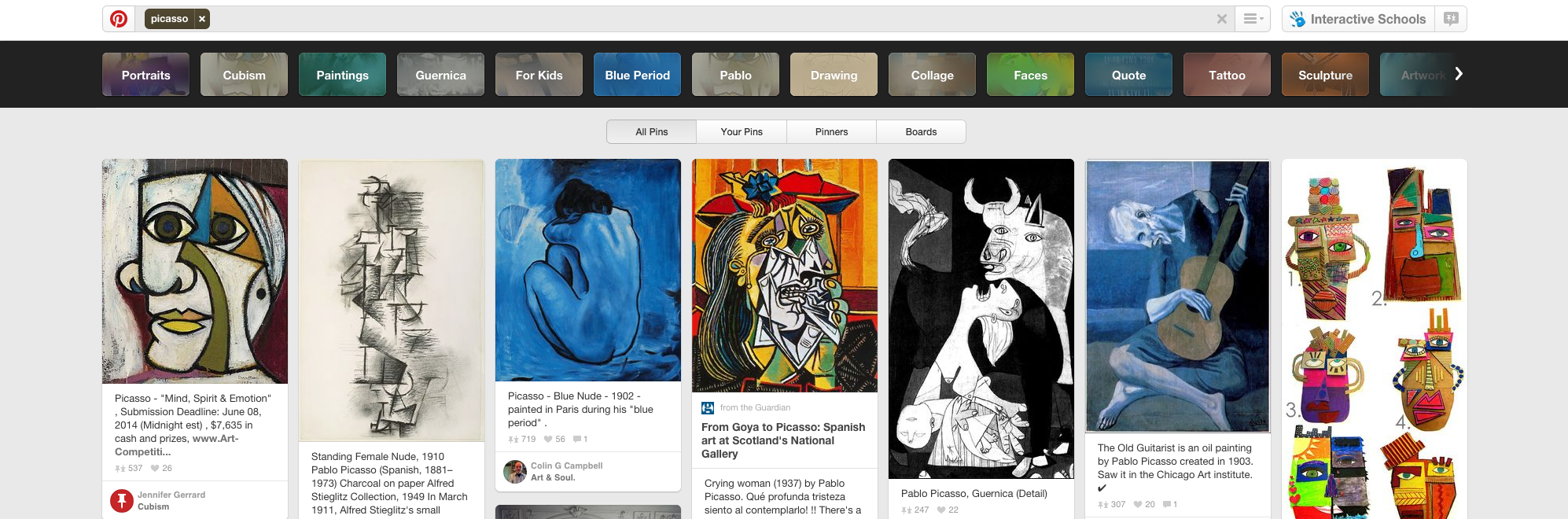 A search for 'Picasso' on Pinterest