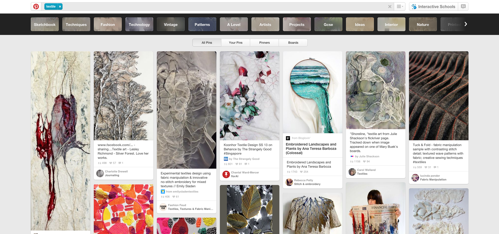 A search for 'Textiles' on Pinterest