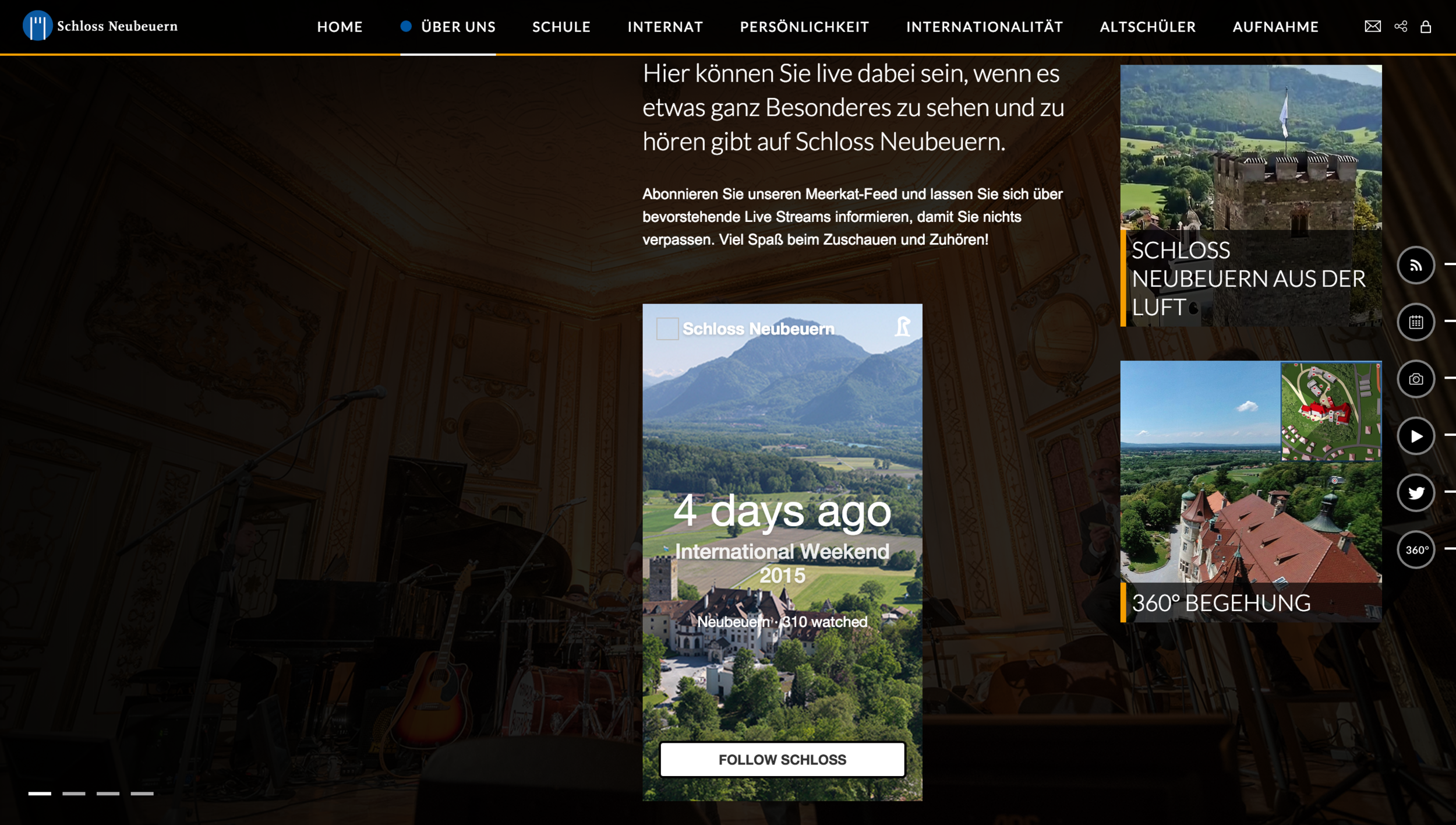 Schloss Neubeuern use live streaming to engage with parent, prospects and their international community.