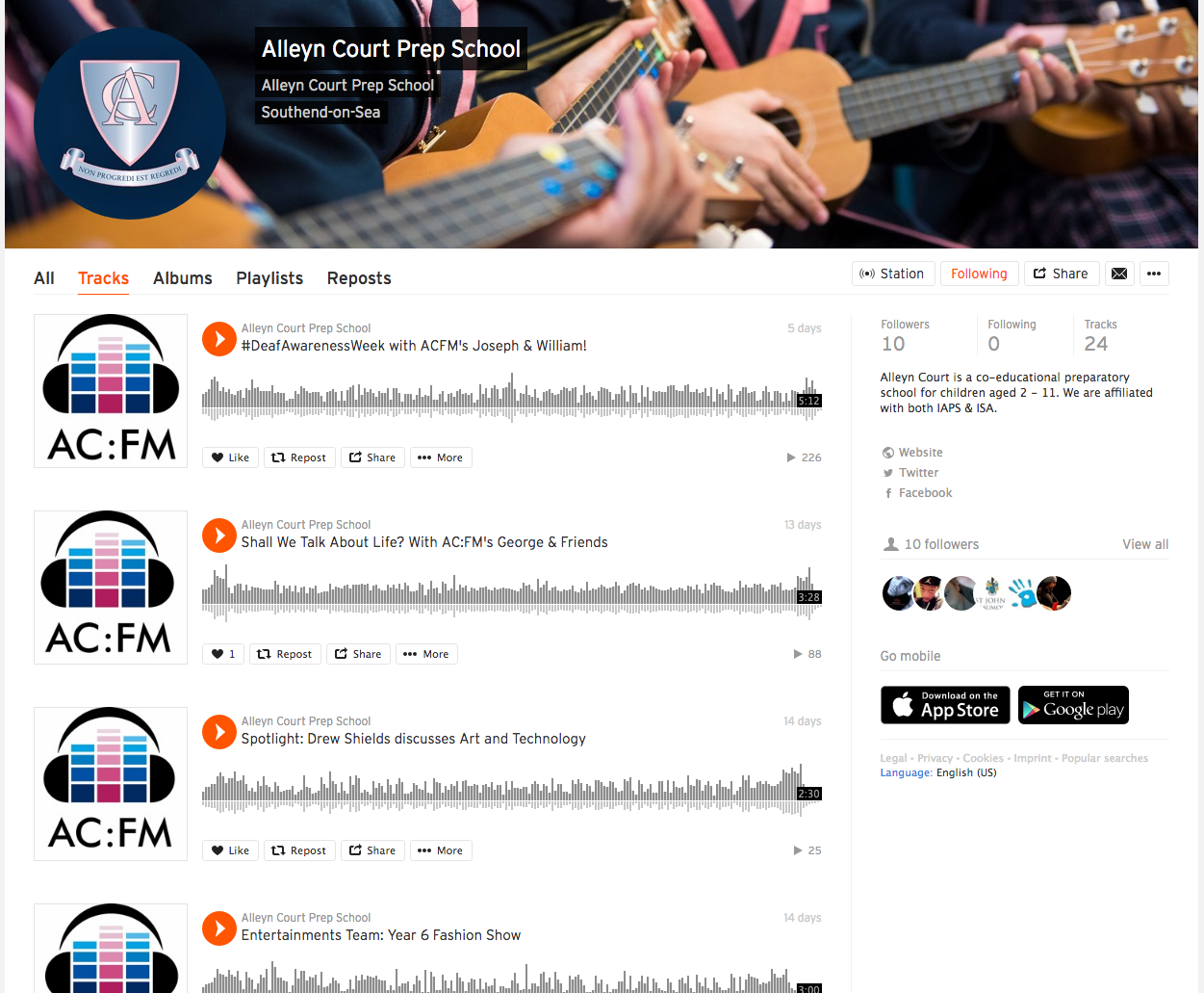 Click to enlarge  -  Alleyn Court Prep School  use SoundCloud for performances and their pupil-run radio  👍