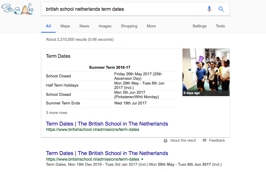 """The """"Rich Snippet"""" can be seen at the top - information delivered based on your search term  without needing to click any link."""