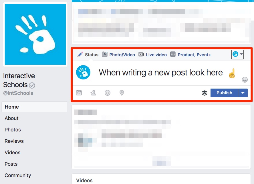 Use this dropdown menu to select who you are 'posting as'.