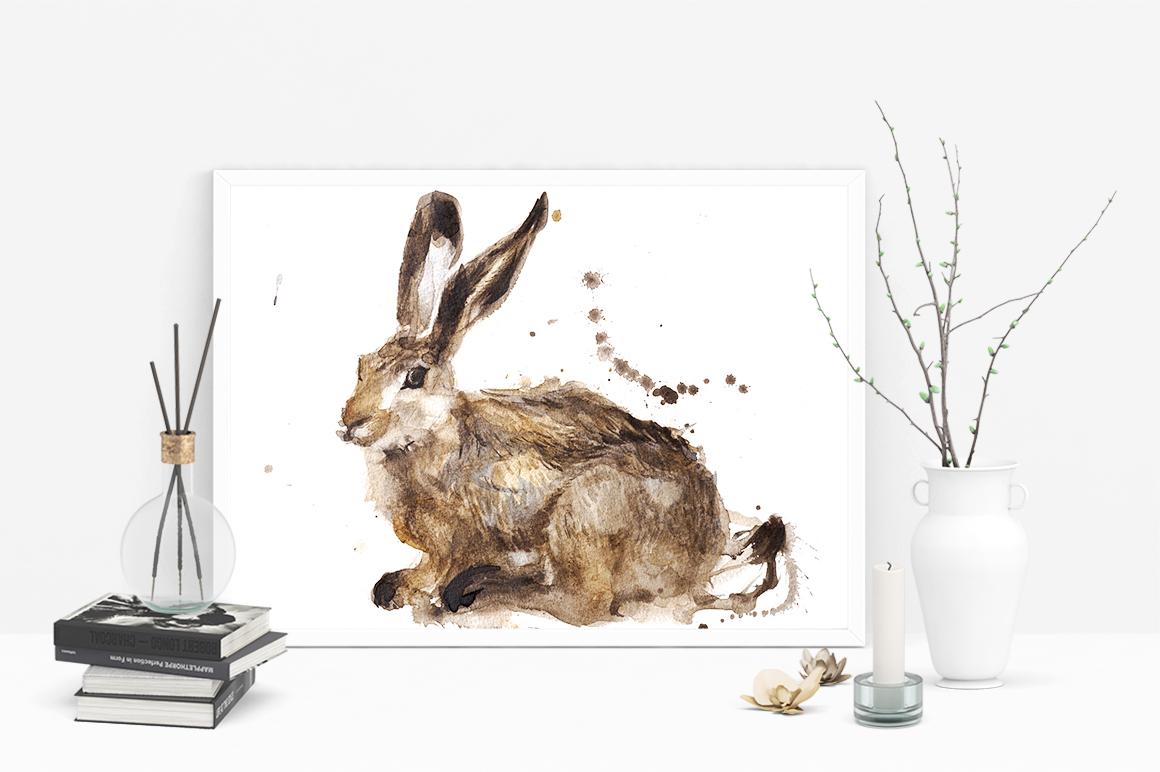 Watercolour rabbit print on Creative Market