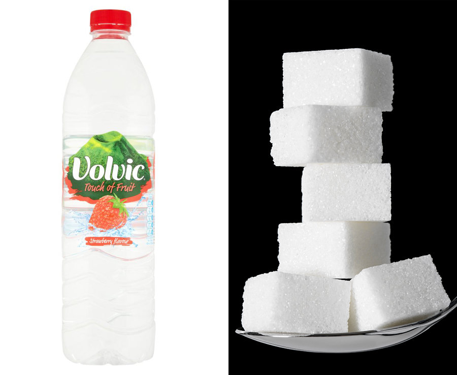 500ml of Volvic Fruity Water has almost 6 teaspoons of sugar
