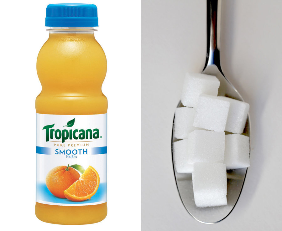300ml of Tropicana Orange Juice has over 7 teaspoons of naturally occurring sugar