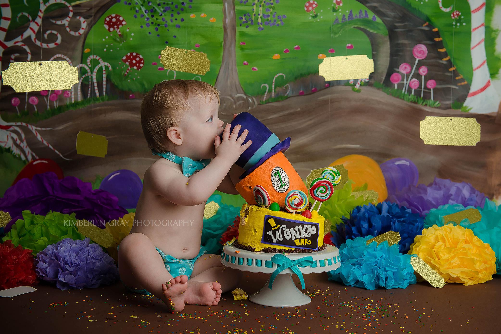 Baby Eating Birthday Cake Smash