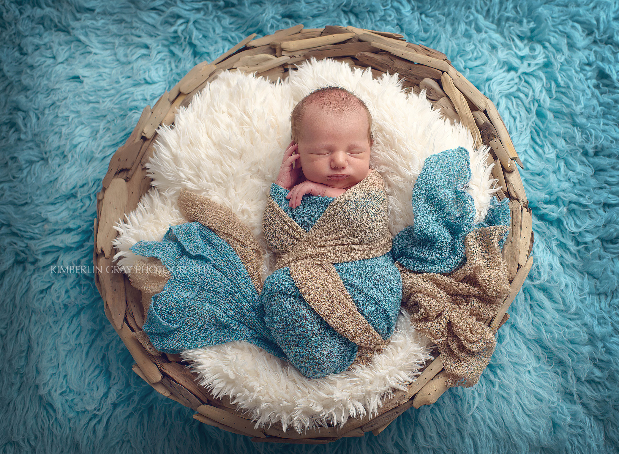 Newborn wrap in a basket Virginia Beach photographer