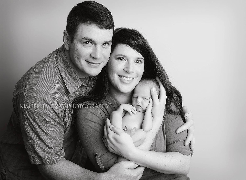 Black and White Newborn Family Chesapeake Newborn Photographer