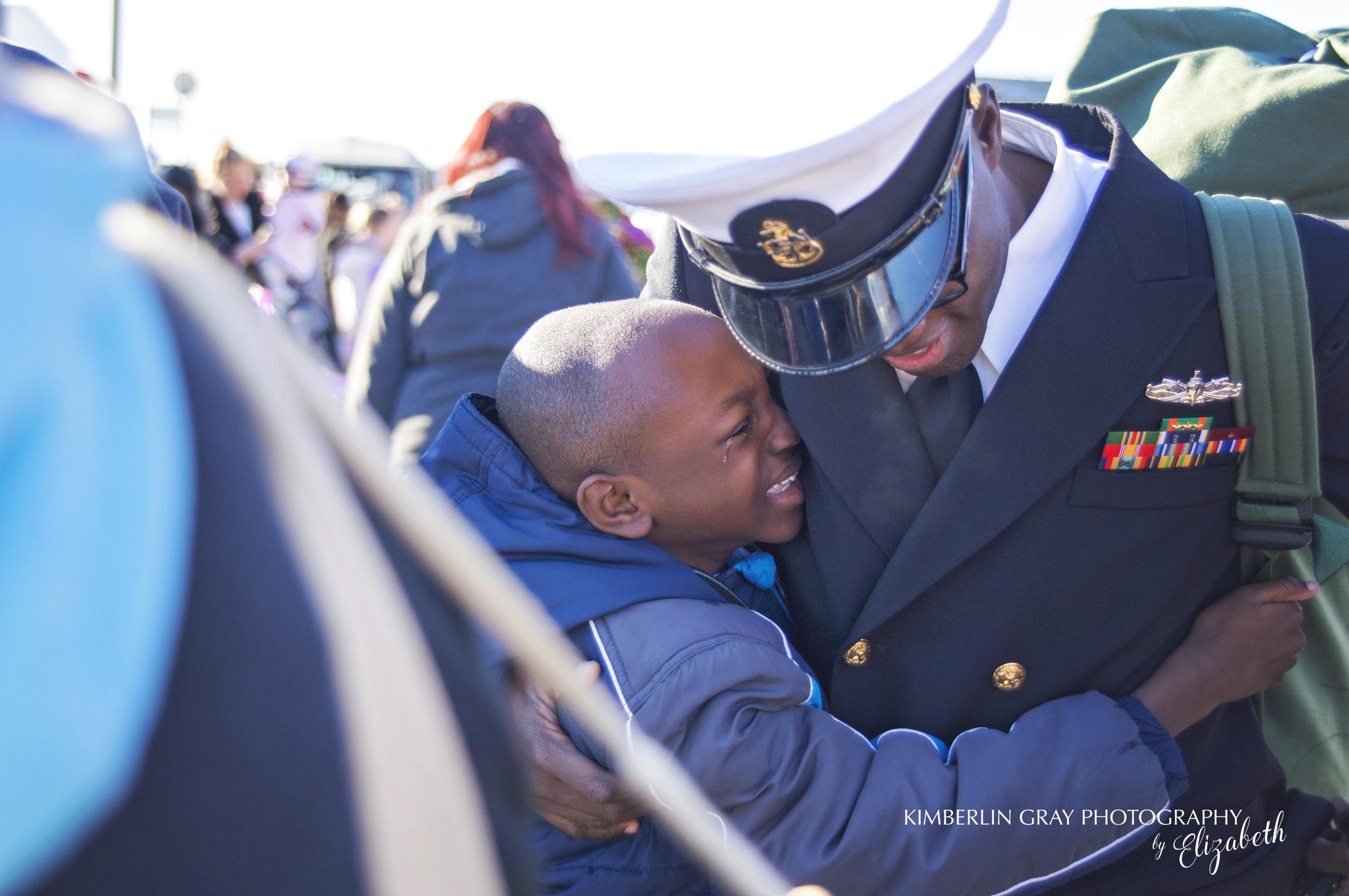Crying Son at Navy Homecoming