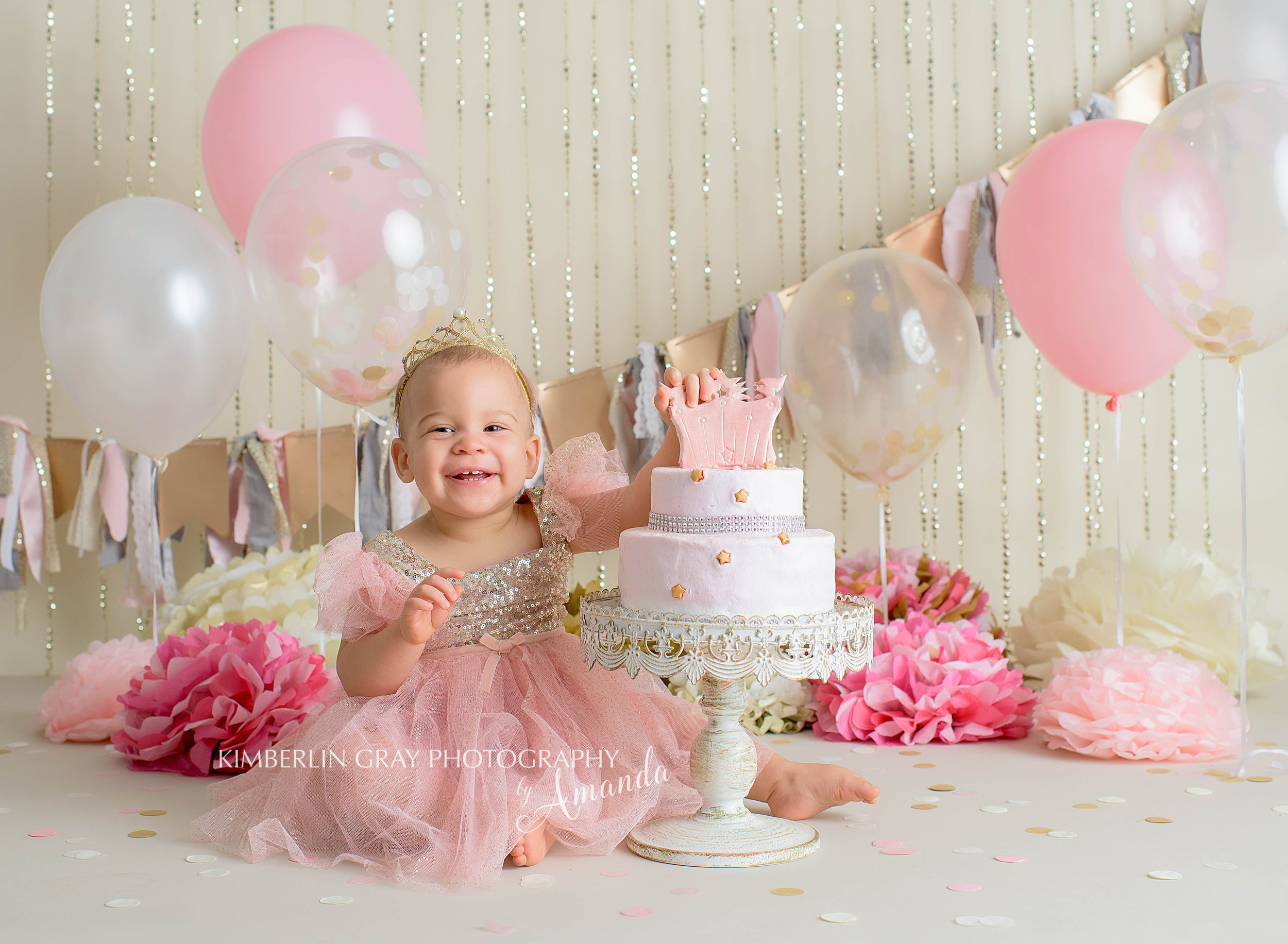 Pink and Gold Cake Smash Virginia Beach Baby Photography